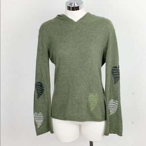 Anthro Cousin Johnny Green Hooded Sweater w Hearts